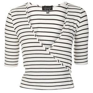 Topshop Black & White Ribbed Striped Wrap Top